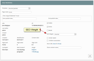 Page propreties : SEO Weight